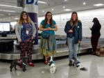 Amelia Veronica and Lizzy at baggage claim