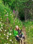 Liz and Falko on flowery trail