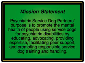 Psychiatric service dog partners guidance info support for Adobe mission statement